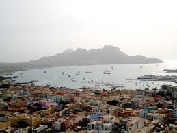 View of downtown Mindelo en Baia do Porto Grande, Sao Vicente