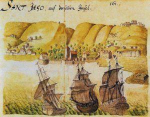 1646 watercolour of Cidade Velha by Caspar Schmalkalden